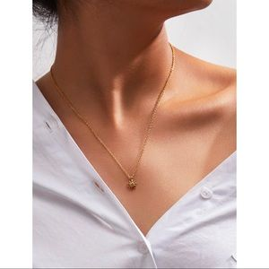 Dainty Metal Sun Gold Pendant Chain Necklace
